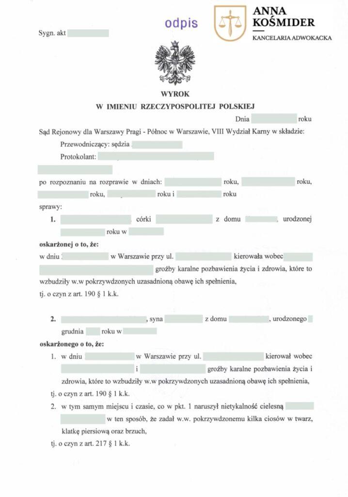 Uniwinnienie w sprawie o naruszenie nietykalności osobistej Adwokat Prawa Karnego Warszawa 1